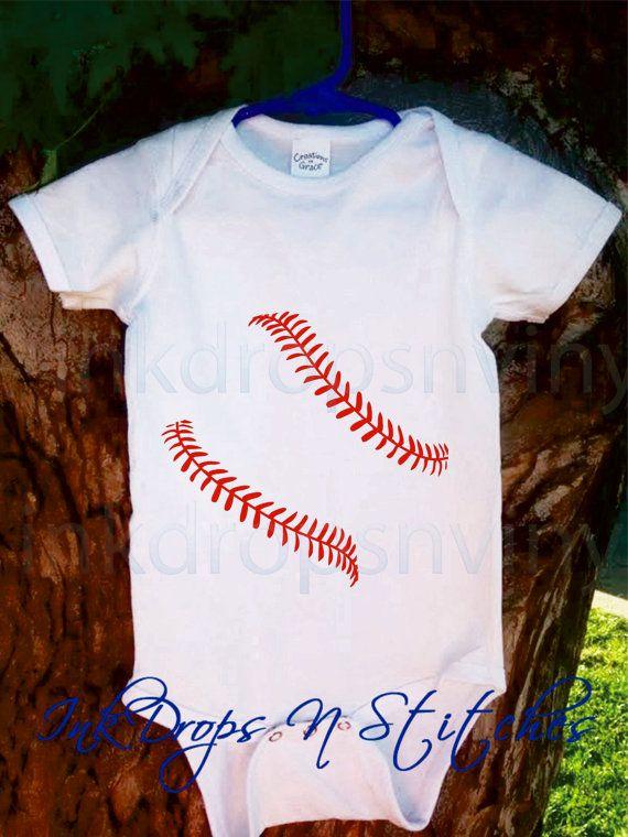 Baby Bodysuit FREE SHIPPING Cute Baseball Laces door InkDropsNVinyl, $17.99