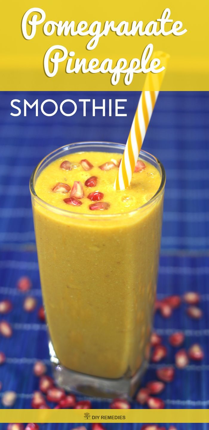Pomegranate Pineapple Smoothie    This is a 100% vegan and gluten-free fruit and vegetable smoothie that do not contain any dairy products or grains which make it suitable for people with gluten and lactose intolerance and those following a restrictive diet.  #DIYRemedies