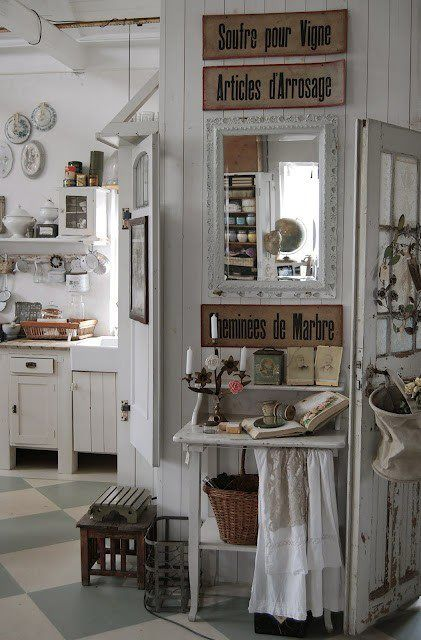 Kitchen French country shabby chic decor idea - I love this white look if my husband were not a mechanic!