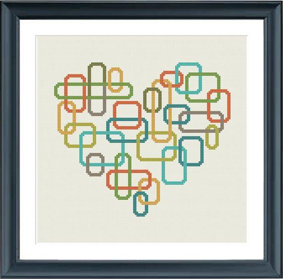 geometric modern cross stitch pattern heart retro by Happinesst