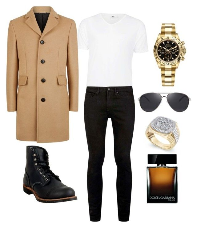 """""""Untitled #18"""" by alisha-marley on Polyvore featuring Topman, Jaeger, Red Wing, Rolex, Dolce&Gabbana, men's fashion and menswear"""