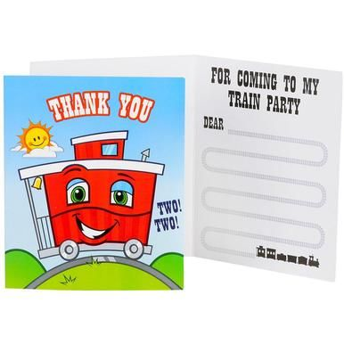 Two-Two Train 2nd Birthday Thank-You Notes (8 ct)