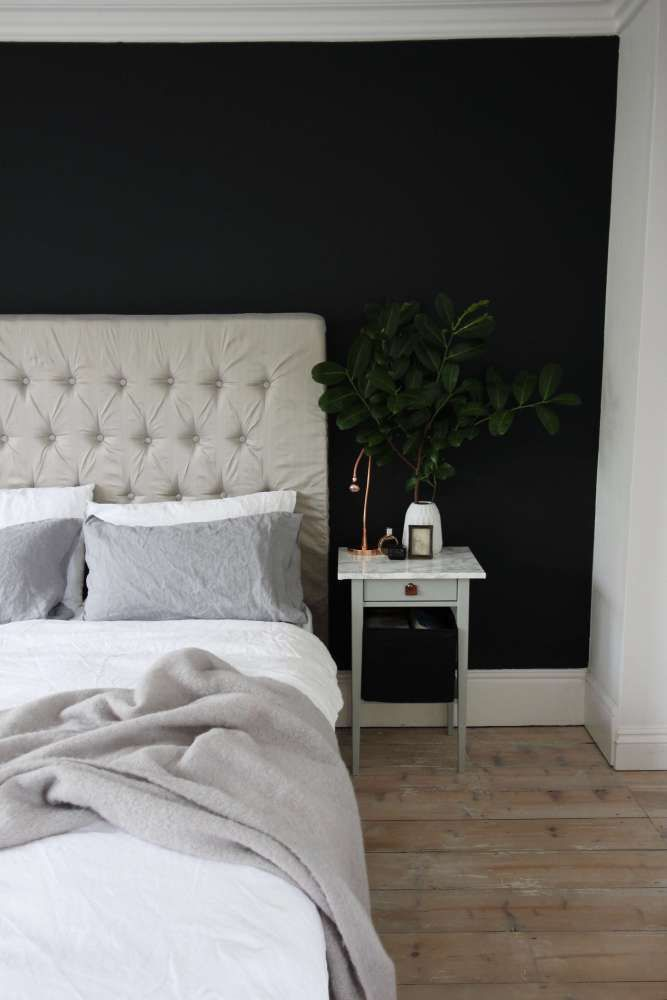 bedroom with railings (farrow and ball) wall | upholstered headboard | metal details | white linen bedding