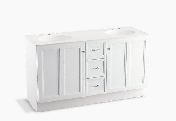 """Damask™ 60"""" Vanity with Toe Kick, 2 Doors and 3 Drawers"""