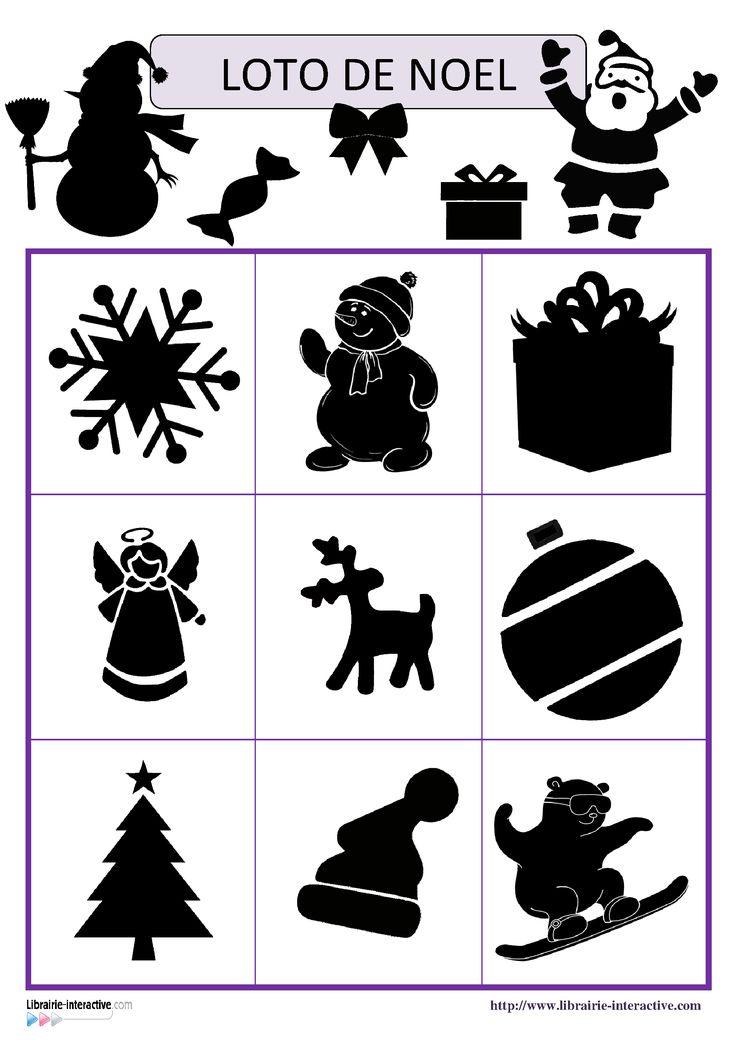Deux jeux de loto avec 18 ou 27 images (ombres et contours) sur le thème de Noël (Père Noël, sapin, cloches, bonbons, cadeaux, traîneau, guirlandes, flocons de neige...).