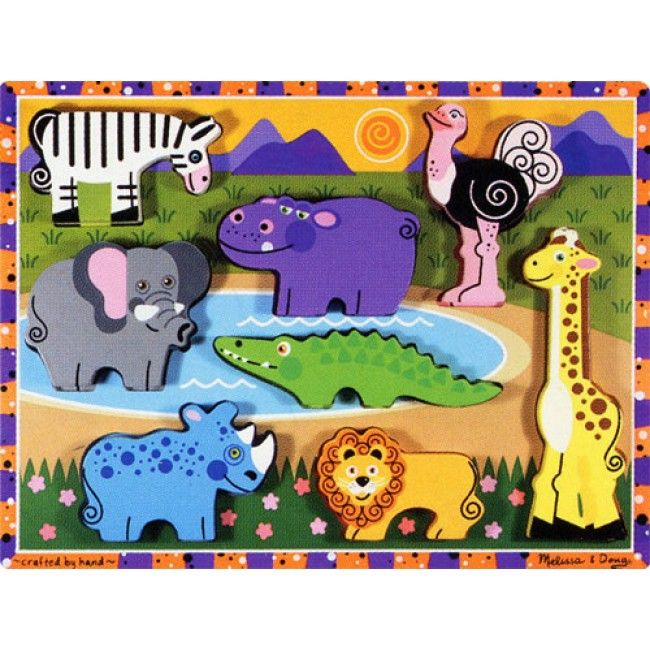 Melissa & Doug create wonderful chunky puzzles, perfect for little hands. This one is safari themed, which is perfect to learn about shapes and animals! High quality, durable, and the pieces can be used for independent play. #entropytoys #woodentoys #safari #puzzle #woodenpuzzle