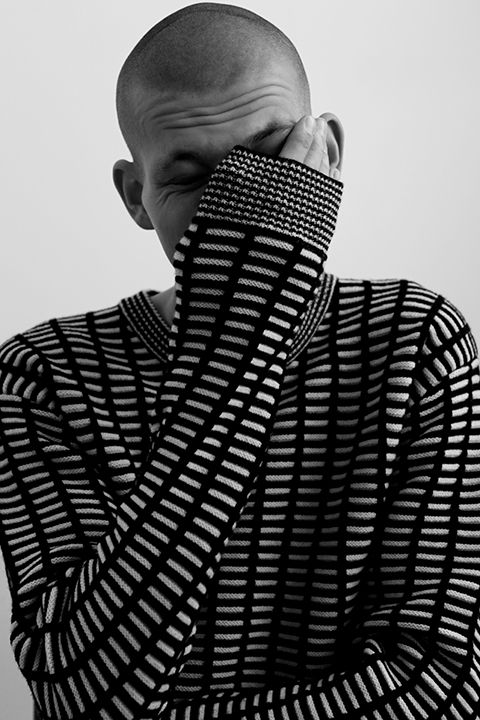 Oliver Cookson at Amck Models photographed by Sam Copeland for Boys by Girls. Styling by Sophie Robyn Watson. Oliver wears Jumper by McQ. See full editorialhere.