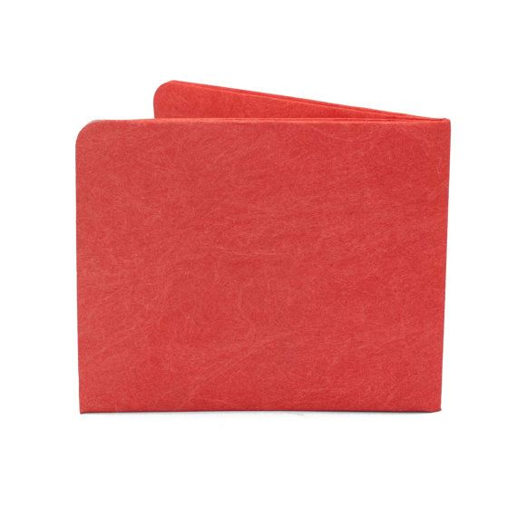 Paper-Thin Wallet Unisex for Men & Women - Solid Red Design - Made in Tyvek - Eco-friendly and 100% Recyclable