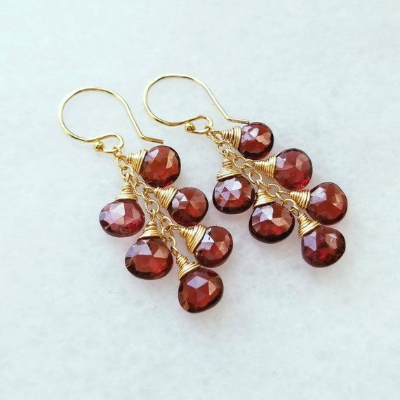 Deep red garnet and gold the birthstone for January Dangle earring and necklace set