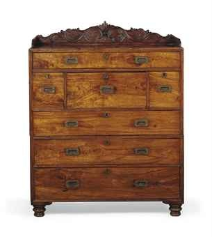 AN ANGLO-INDIAN CAMPHOR SECRETAIRE CAMPAIGN CHEST