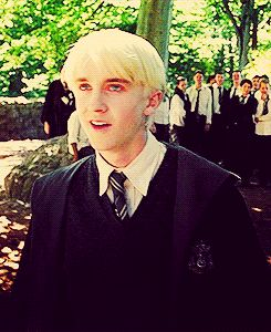 "Why do I love this picture so much?! Like, everyone in the background just runs and dives away and Draco is like, ""Bloody hell!"""