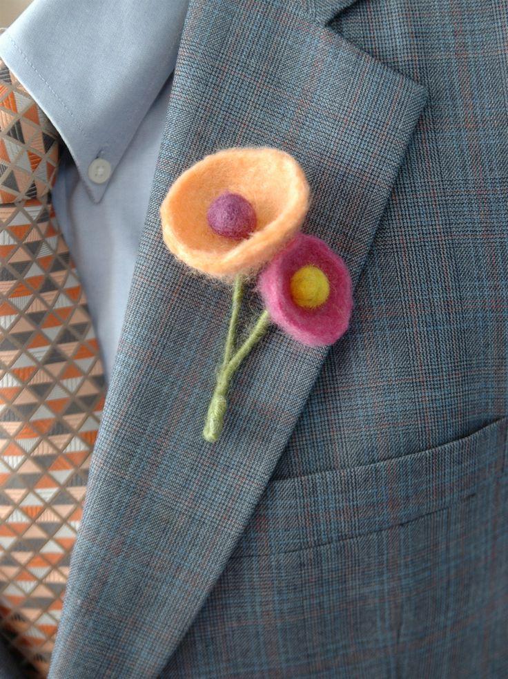 Felt boutonniere for funky modern wedding - orange, purple and pink funky felt flowers by AspenCroft on Etsy https://www.etsy.com/listing/178489931/felt-boutonniere-for-funky-modern