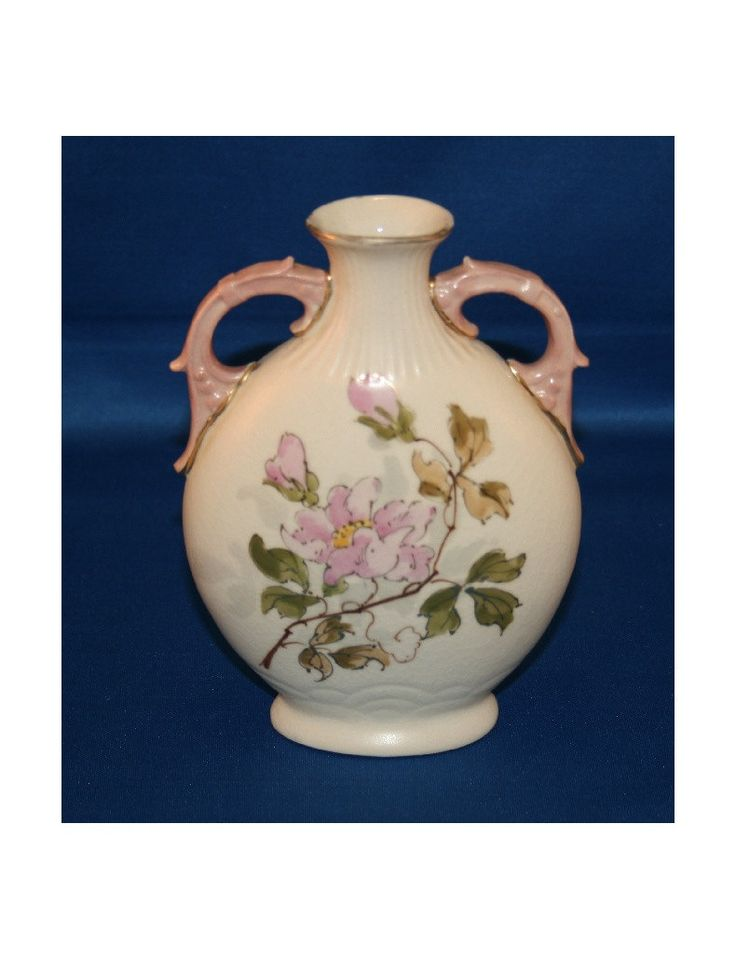 Vintage Tan Pillow Vase Hand Painted with Gold Gilding and Pink Roses Ceramic Pottery Flower Bud Vase  Knick Knack Urn by KattsCurioCabinet on Etsy
