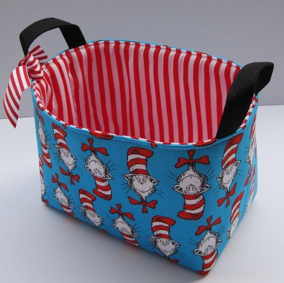 Storage and Organization - Fabric Organizer Container Bin Basket - Made with Dr. Seuss Cat in the Hat Heads Fabric