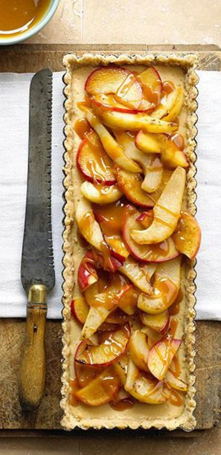 Scrumptious Caramel Cream Cheese Apple Pear Tart with crushed pecan sandie cookie crust.
