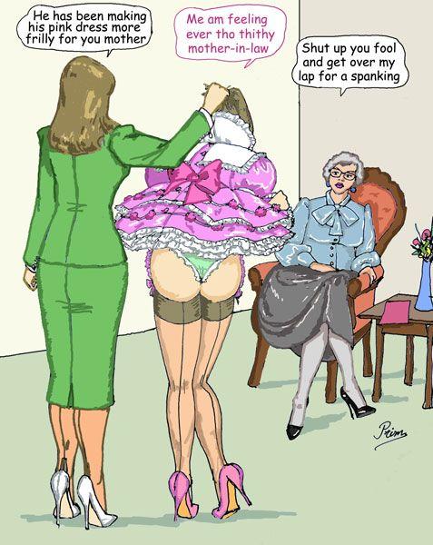 Sissy maid spanking dildo pink panties