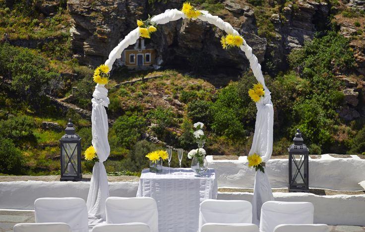Wedding ceremony overlooking the Kea Villas vineyards!
