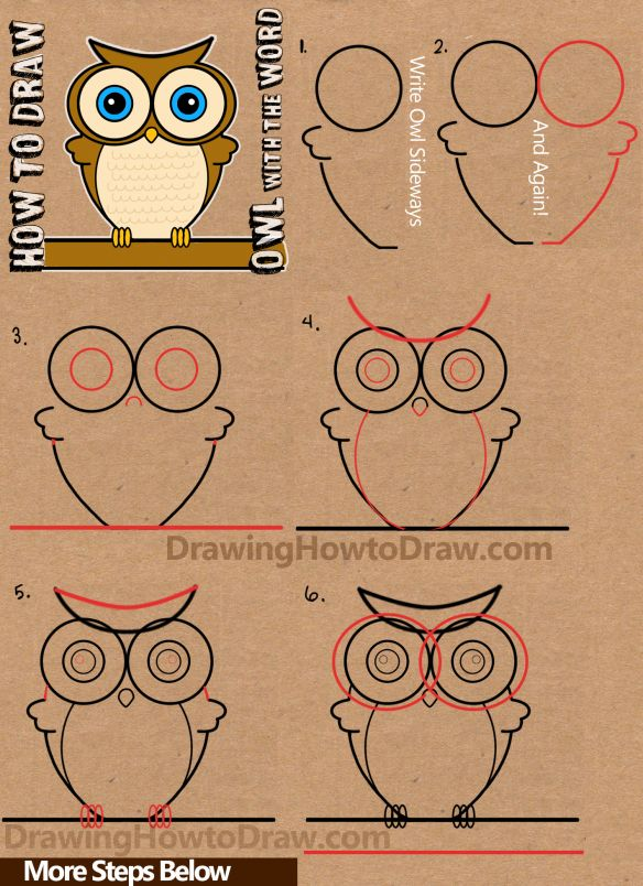 How to draw cartoon owls with word owl step by step for Learn to draw cartoons step by step lessons