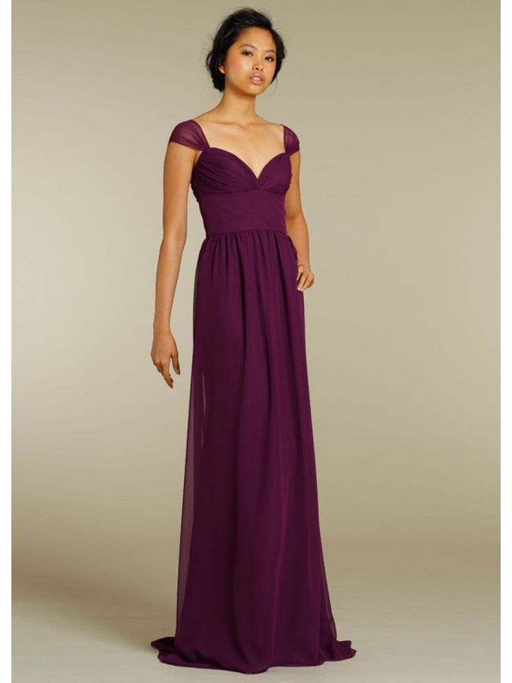 A line sweetheart cap sleeves floor length long grape for Adding cap sleeves to a wedding dress
