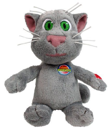 """Talking Tom Cat Toy with Sounds - 8"""". Hot from the success of the iphone and andriod app, Talking Tom now has his own plush range. Press the tummy of this soft and cuddly plush figure to hear sounds from the app. Size: 20 cm."""