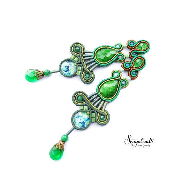 Soutache earrings in emerald green. Soutache by Sengabeads on Etsy