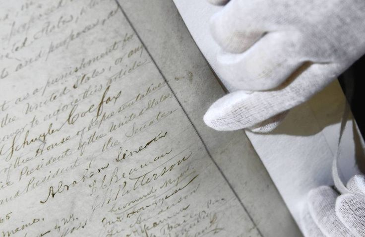 The signature of #AbrahamLincoln is seen in a rare copy of the 13th amendment to the U.S Constitution which is being preserved in 2011 for the @Abraham Lincoln Presidential Library & Museum in Springfield, Illinois.