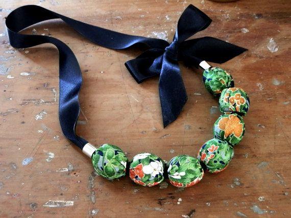 Vintage Kimono silk bead necklace  Garden by PeaGreenSea on Etsy
