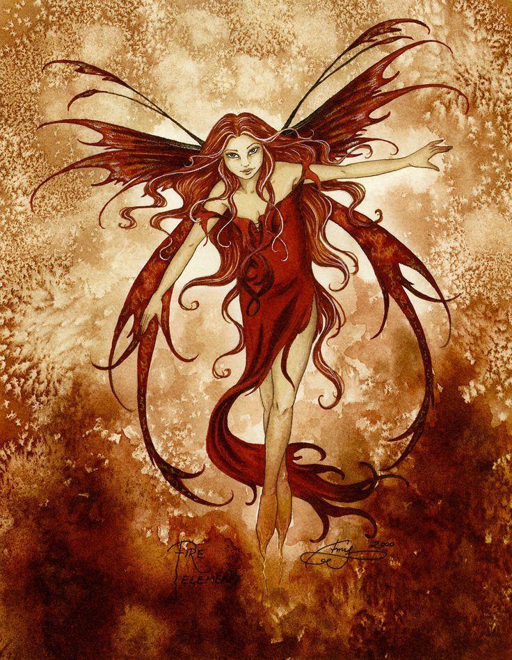 Amy Brown Fire Element Fairy Ceramic Tile Art
