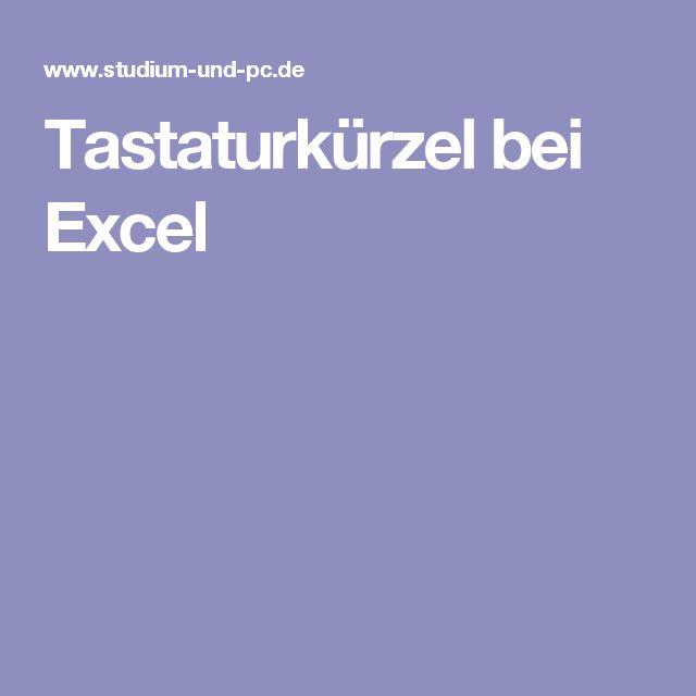 Tastaturkürzel bei Excel