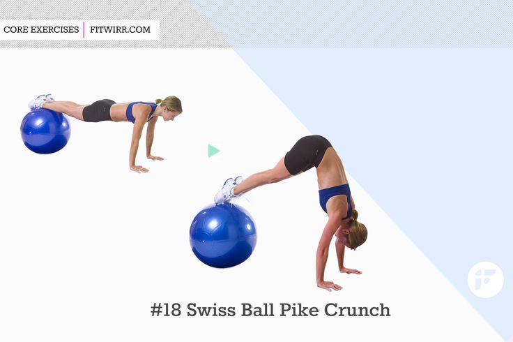 Swiss ball pike crunch exercise