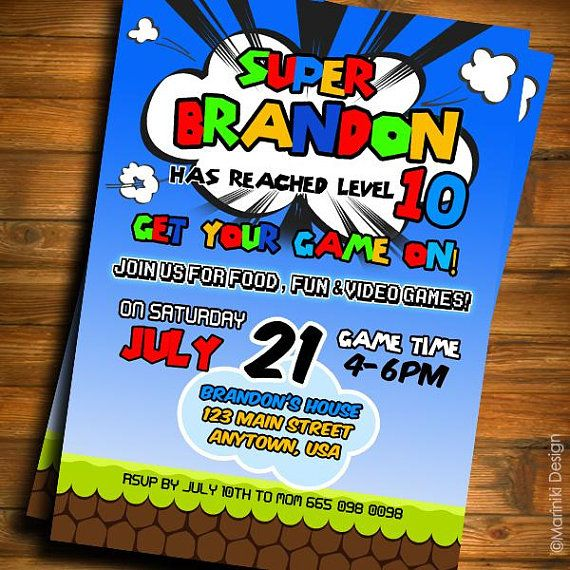 Video Game Invitations, Video Game Birthday Party, Gamer, Boys Invitation, Game Truck, Birthday Invites, Teen Party Invitations BK73