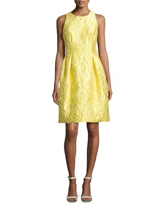 Sleeveless+Floral+Brocade+Cocktail+Dress,+Yellow+by+Carmen+Marc+Valvo+at+Neiman+Marcus.