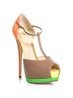 Guiseppe Zanotti Contrast neon-panel sandals - love the colour combination, will design my own twist on this at www.upperstreet.com