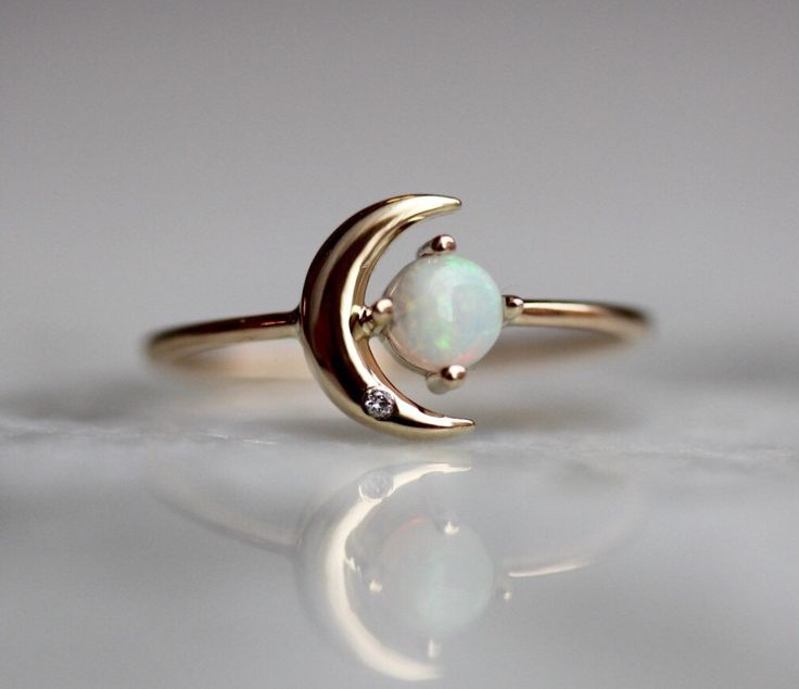 14K Opal Star And Moon Ring, Diamond, Night Sky, Astrology Jewelry, Opal Ring, October Birthstone, Moon Ring, Crescent Moon by LieselLove on Etsy https://www.etsy.com/listing/497561959/14k-opal-star-and-moon-ring-diamond