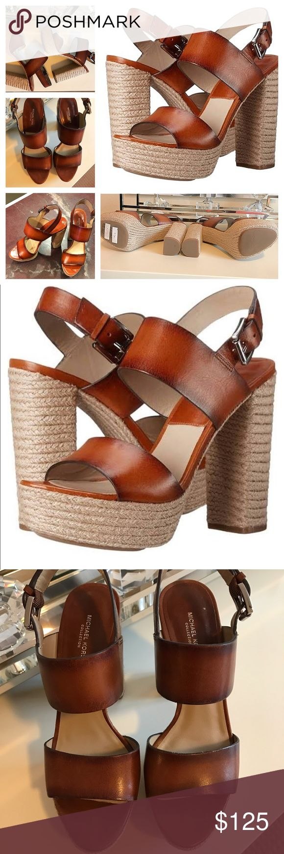 LIKE NEW Michael Kors Platform Sandals 7.5 Jute!! LIKE NEW Michael Kors Platform Sandals Women's Size 7.5 Bourbon Leather & Jute!! Excellent condition Michael Kors platform sandal with clean soles, spotless leather, and fresh buckle.  5 out of 5 stars ✨ MSRP $245 on MK site!  SHOP BFLYBABE22 CLOSET FOR OTHER FABULOUS HAUTE COUTURE CLOSET STAPLES! Buy any 2 items, receive 15% off! Free gift with any full purchase price order now til' the ball drops NYE! 🎉 Michael Kors Shoes Platforms