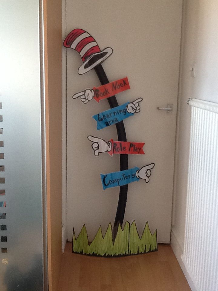 Dr Seuss signpost. I made this for a friends classroom. I used card for the signs which I also laminated and pipe lagging covered with electrical tape made a great post.