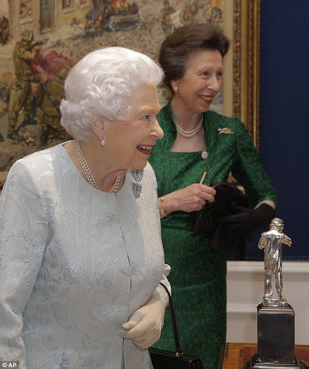 The Queen and Princess Anne both appeared in good spirits as they chatted to guests...