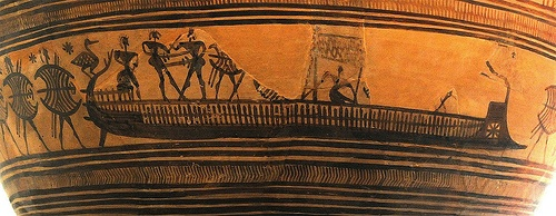 Ancient Greek ship    A rare depiction of a land-sea battle with an ancient Greek ship from a crater, Geometric Period, circa 750 BC. Metropolitan Museum of Art.