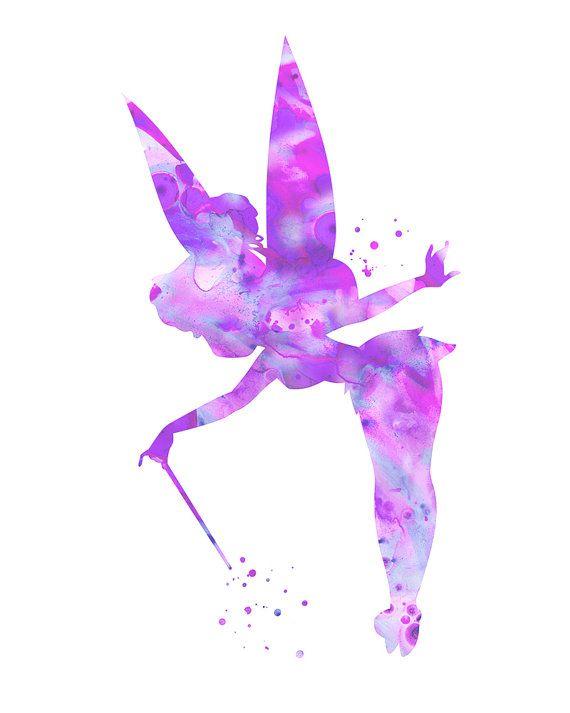 Purple Tinkerbell Art Print Purple Tinkerbell Disney