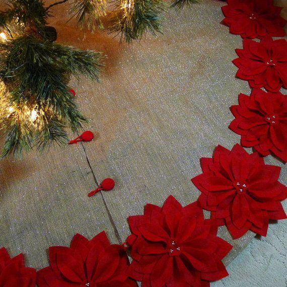 65 árbol de Navidad de arpillera falda con hilos de plata y