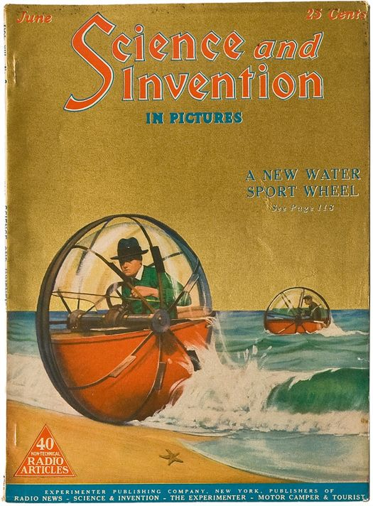 """A new water sport wheel! Build a model of this as an armored invasion device, along with """"ball tanks"""" that would also be amphibious.  John Kleptz"""