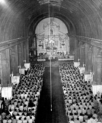 Holy Rosary Cathedral, Easter Sunday Services, 1945, for the men of the US 5th Air Force stationed at the near by Clark Airfield (island of Luzon). The Church was damaged when a Japanese aircraft crashed into one of the Steeples then through the roof.