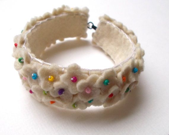 Spring Flowers in white - hand embroidered felt bracelet - small flowers - wool felt