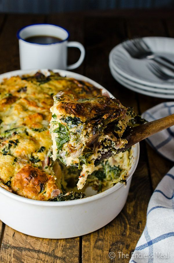Gruyère White Cheddar and Kale Strata