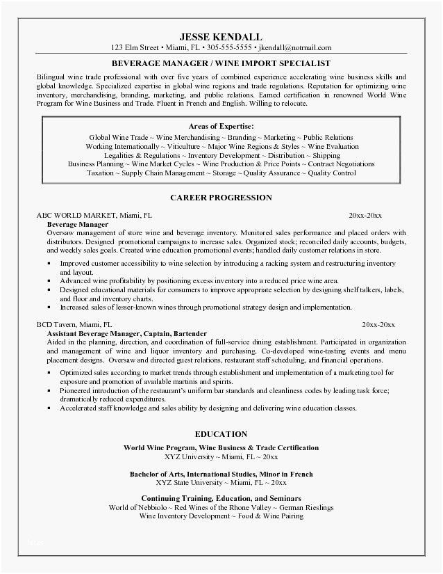 Food and Beverage Manager Resume Cool Most Popular Food