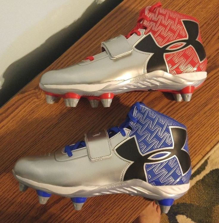 NEW UA Under Armour C1N Mid D Cam Newton Football Cleats Shoes 1264317 Blue Red #UnderArmour #Football #Cleats