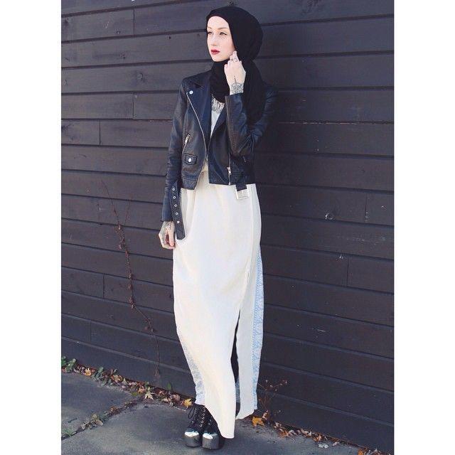 Kendyl Aurora | Hijab Fashion | Modest Fashion | Dark Fashion | Long White Dress | Leather Jacket | Monochrome | Black and White