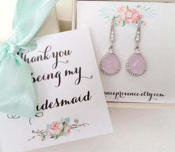 Bridesmaid jewelry set of 5 blush pink earrings by FranceProvence