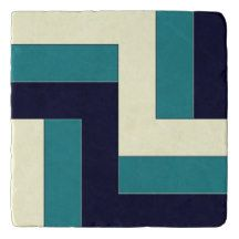 Teal and Marine Blue Mediterranean Style Trivets
