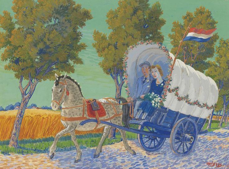Hendrik Johan 'Henk' Melgers (1899-1973) A farmer's wedding couple, gouache on paper. Collection Simonis & Buunk, The Netherlands.
